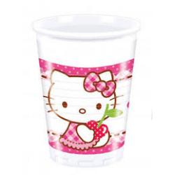 8 x Gobelet Hello Kitty blanc, rose et rouge 20cl