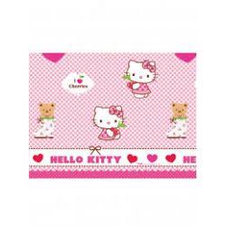 Nappe Hello Kitty blanc, rose et rouge plastique 120x180cm