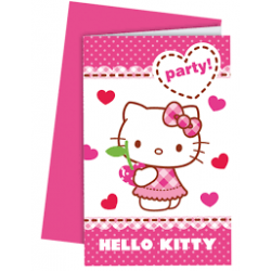 6 x Carte d'invitation Hello Kitty blanc, rose et rouge