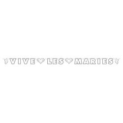 """Guirlande de lettres """"vive les mariés"""" blanc et argent 12x225cm"""