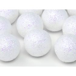 Boule décorative blanche pailletée 9 p D3cm