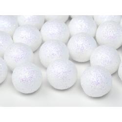Boule décorative blanche pailletée 25 p D2cm