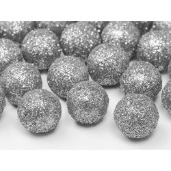 Boule décorative argentée pailletée 25 p D2cm