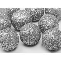 Boule décorative argentée pailletée 9 p D3cm