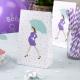 5x Sac à bonbons futur maman parapluie vert et mauve