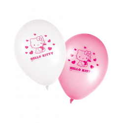 8x Ballon Hello Kitty blanc et rose