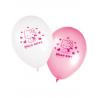8x Ballon Hello Kitty blanc et rose