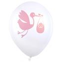 8x Ballon cigogne rose