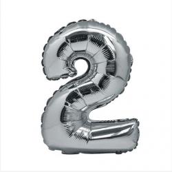 Ballon Argent chiffre 2