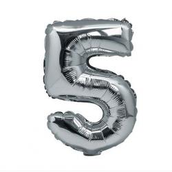 Ballon Argent chiffre 5