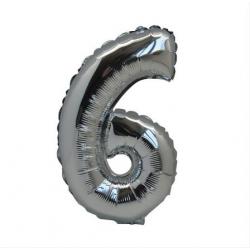Ballon Argent chiffre 6