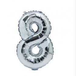 Ballon Argent chiffre 8