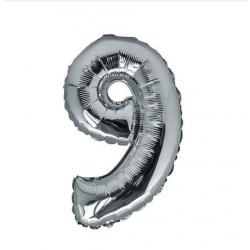Ballon Argent chiffre 9