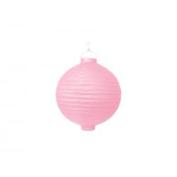 Lanterne avec LED papier rose (20cm)
