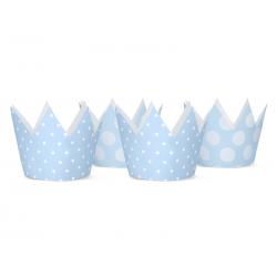 4 x chapeau de fête forme couronne bleu