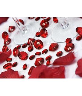 10 x Petit diamant en plastique bordeaux (20 mm)