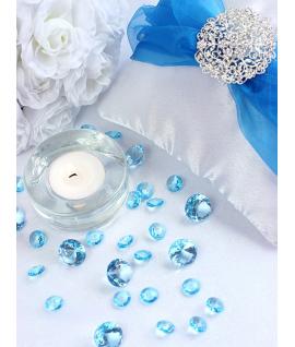 10 x Petit diamant en plastique turquoise (20 mm)