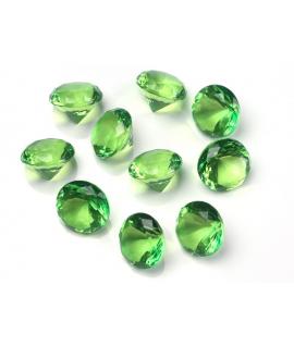 10 x Petit diamant en plastique vert clair (20 mm)